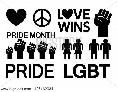 Vector Set Bundle Of Flat Lgbt Lgbtqia Elements Isolated On White Background