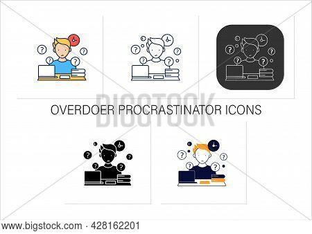 Overdoer Procrastinator Icons Set.taking Extra Work. Too Many Tasks.procrastination Concept.collecti