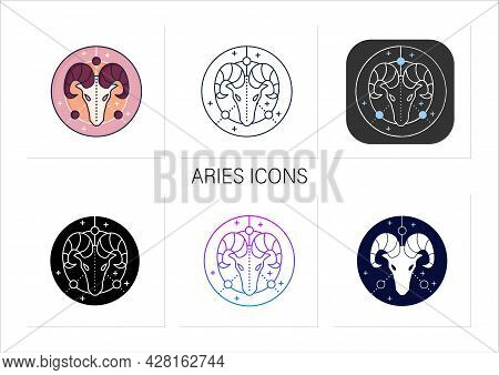 Aries Icons Set. Ram Symbol. First Fire Sign In Zodiac. Birth Symbol. Mystic Horoscope Sign. Astrolo