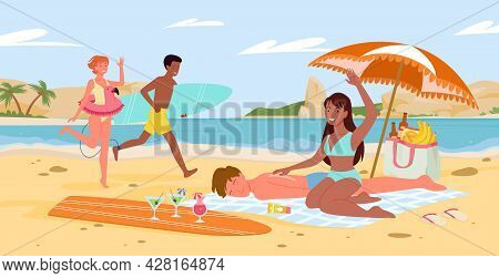 Cartoon Seaside Panorama Scenery With Tourist Friends Or Couple Characters Sunbathe, Man Surfer With