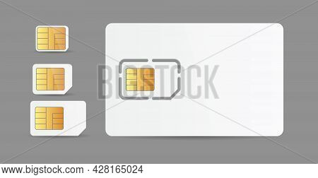 Realistic White Simcards For Mobile Telephone Smartphone Collection With Cellular Gold Micro Chips F