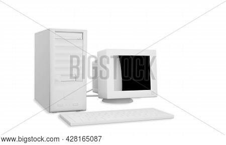 3d Rendering Old White Computer Standard Workstation, Crt White Screen, Atx Case, Mouse Keyboard Wir