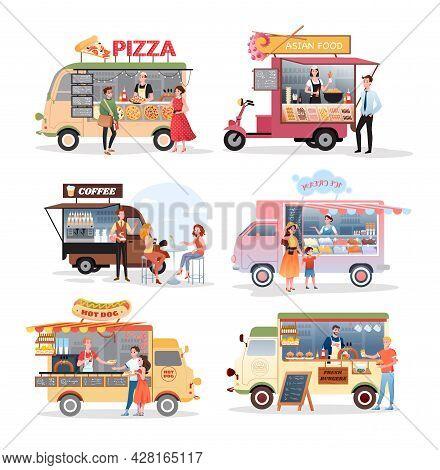 Street Market Food Truck Vector Illustration Set. Cartoon Van Stall Marketplace Mini Cafe Selling Pi