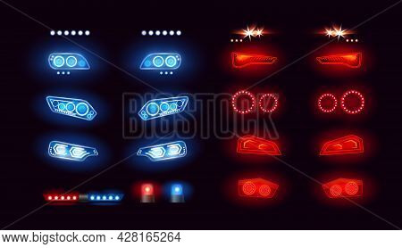 Car Headlights Bar, Led Automobile Light Set, Realistic Auto Lights Front View Collection