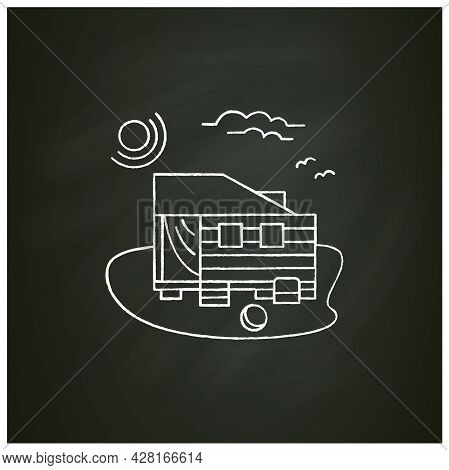 Beach Hut Chalk Icon. Wooden Facade, Comfortable House On Beach. Perfect Relax Place. Seascape. Rest