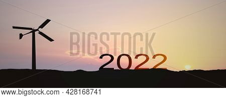 The Year 2021 Go 2022 Year Silhouette Of Panorama Landscape 2021 And 2022 Letters On The Mountain An