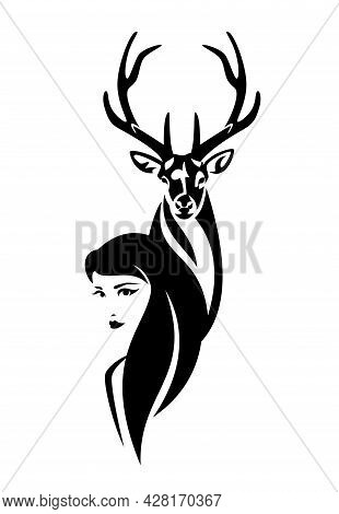 Beautiful Woman With Long Hair And Wild Deer Stag Head - Girl And Animal Black And White Vector Outl