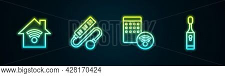 Set Line Smart Home With Wi-fi, Electric Extension Cord, Air Humidifier And Toothbrush. Glowing Neon