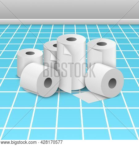Toilet Paper Roll Tissue. Toilet Towel Icon Isolated Realistic Illustration. Kitchen Wc Whute Tape P