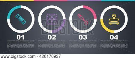Set Line Construction Bubble Level, Area Measurement, Measuring Spoon And Scales. Business Infograph
