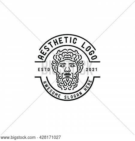 Ancient Greek God Icon Logo,line And Outline Logo Design,ancient Greek Philosopher God Statue  Drawi