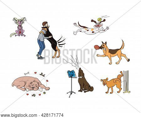 Happy Dogs Are Playing, Sleeping, Growling, Pissing, Having Fun. Vector Illustration.