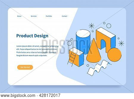 Product Design Landing Page Concept Vector Isometric Illustration. User Interface Homepage Template