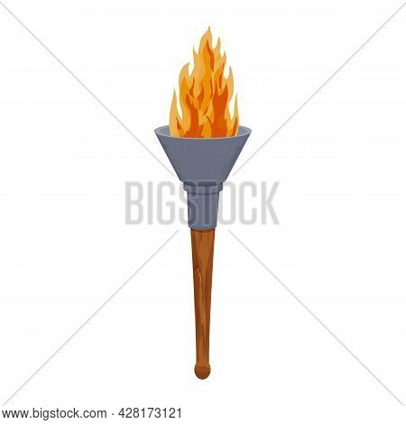 Medieval Torch Wooden Stick And Iron With Flame In Cartoon Style Isolated On White Background. Antiq