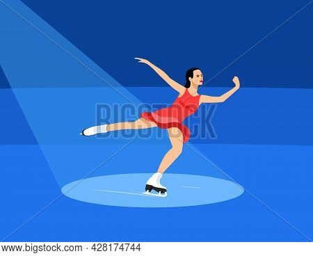 Figure Skating. The Girl Performs In Figure Skating. Vector Illustration