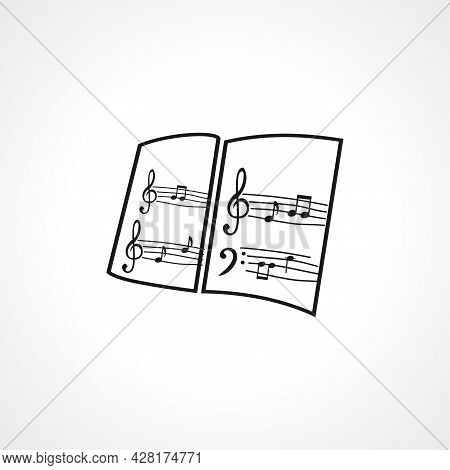 Music Book Icon. Musical Notes Book Simple Vector Icon. Musical Notes Book Isolated Icon.