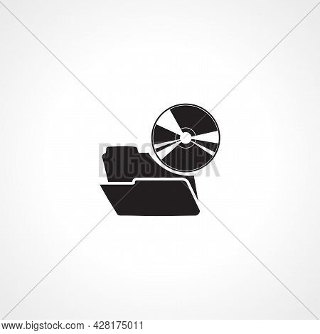 Cd Files Icon. Folder With Cd Icon. Cd Files Simple Vector Icon. Music Files Isolated Icon.
