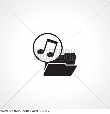 Music Files Icon. Folder With Music Notes Icon. Music Files Simple Vector Icon. Music Files Isolated