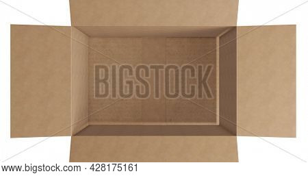 Overhead of empty brown cardboard box with lid opening on white background. packing box in preparation for shipment or transportation.