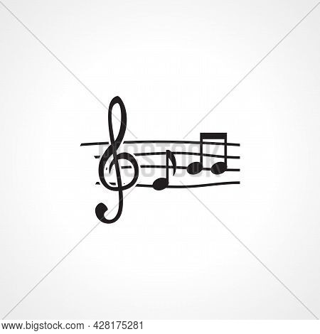 Musical Note Icon. Musical Note Simple Vector Icon. Musical Note Isolated Icon.