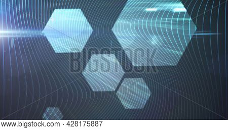 Image of glowing lines connecting with hexagon shapes. global online network technology connection communication concept digitally generated image.