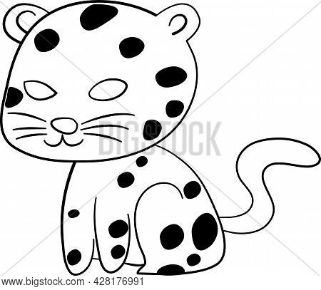 Cute Animal Comics Vector On White Background. Cute Tiger, Animal For Kids Concept. In Cute Form Fla
