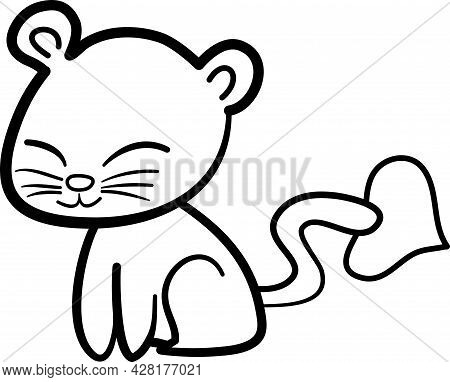 Cute Animal Comics Vector On White Background. Cute Cat, Cat Cute, Animal For Kids Concept. In Cute