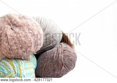 Balls Of Yarn In Nude Colors In A Craft Bag On A Bright Background. Craft On White Background With C