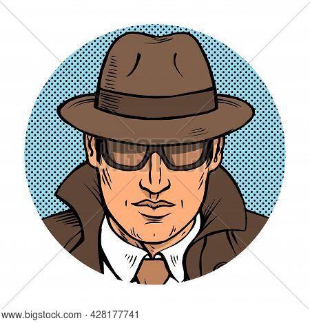 Man Detective Investigating Retro Illustration Pop Art