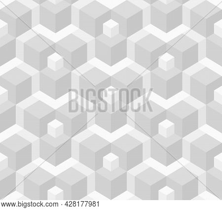 Abstract Background Seamless Geometric Pattern. Cube Shape, Diamond Shape. White And Gray Color. Sur