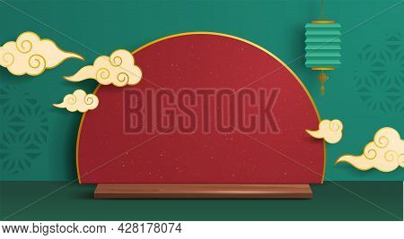 3d Illustration Of Mid Autumn Mooncake Festival Theme Podium Scene With Paper Graphic Style Of Orien