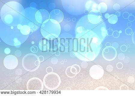 Abstract Bright Gradient Motion Spring Or Summer Landscape Texture With Natural Blue Lights And Whit