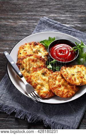 Cheesy Chicken Fritters, Chicken Breast Patties Served With Tomato Sauce On A Plate, Vertical View F
