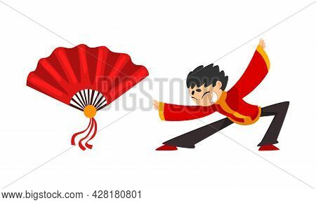 Chinese New Year Decoration Elements Set, Red Fan, Boy In Red Traditional Costume Showing Martial Ar