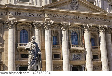 Statue Of St. Peter Holding The Key To Heaven At Vatican. Statue As Made By Giuseppe De Fabris At 18