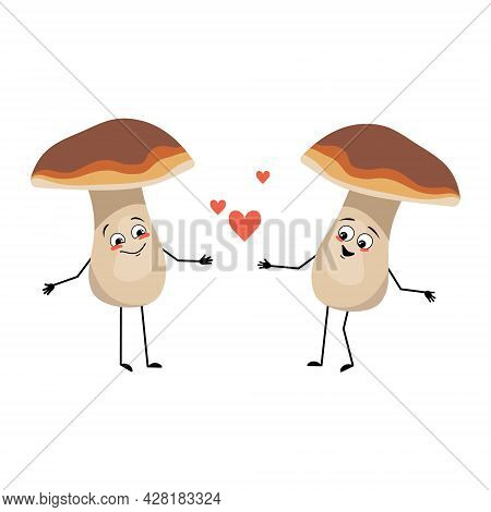 Cute Mushroom Character With Love Emotions, Smile Face, Arms And Legs. A Funny Healthy Wholesome Foo