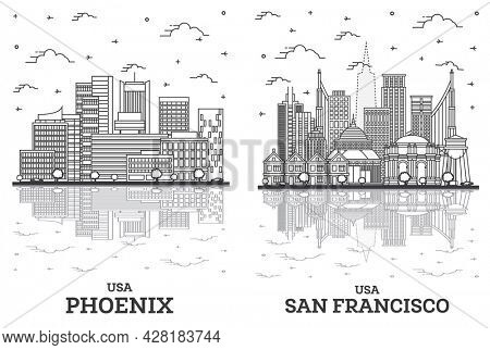 Outline San Francisco California and Phoenix Arizona USA City Skyline Set with Modern Buildings and Reflections Isolated on White. Cityscape with Landmarks.