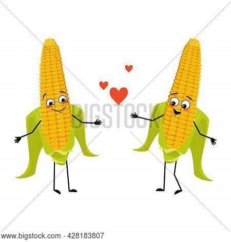 Cute Corn Cob Character With Love Emotions, Smile Face, Arms And Legs. Funny Yellow Vegetable Fall I