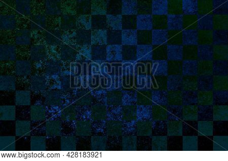 Black Green Blue Checkered Old Vintage Background With Blur, Gradient And Grunge Texture. Classic Ch