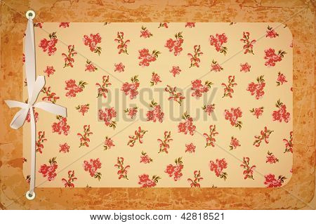 Retro Floral Card With Bow
