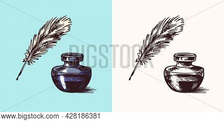 Ink And Feather And Inkwell In Vintage Engraved Style. Retro Vector Illustration For Woodcut Or Wood
