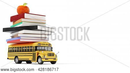 Back to school. Yellow school bus toy with books and apple isolated on white 3D illustration