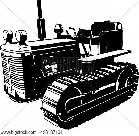 Crawler Tractor - Farm Tractor, Farming Vehicle - Farming Vehicle Stencil