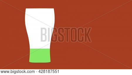 Image of a pint glass shape appearing on a red background and filling with green