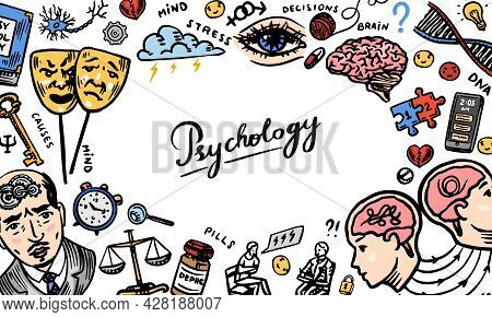 Psychology Science Background. Psychologist Online. Clew And Dna, . Hand Drawn Sketch Poster Banner.