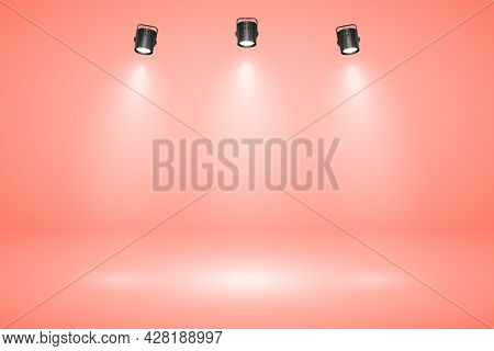 Empty Pastel Peach Studio Abstract Background With Spotlight Effect. Product Showcase Backdrop. Stag
