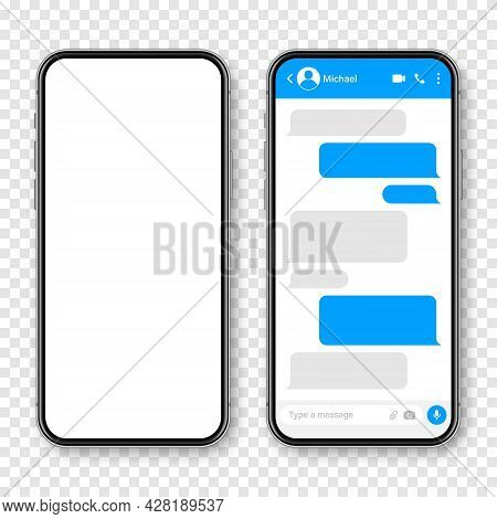 Realistic Smartphone With Messaging App. Blank Sms Text Frame. Conversation Chat Screen With Blue Me