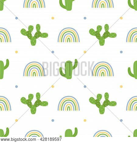 Seamless Pattern With Cacti And Rainbows, Vector Illustration
