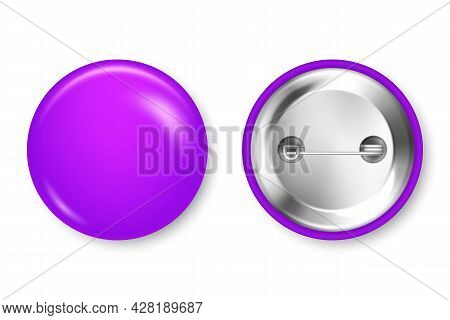 Realistic Purple Blank Badge Isolated On White Background. Glossy 3d Round Button. Pin Badge, Brooch