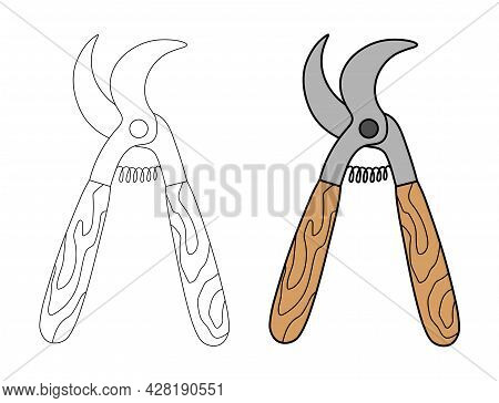 Iron Pruner With A Wooden Handle In A Simple Flat Graphic Outline Style. Linear And Color Illustrati